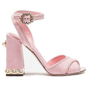 Lucky2019 manuale Early Spring Crossing portare sandali grossolani pecore indietro pelle rivetto perla strass fibbia scarpe da donna