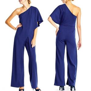 여성용 Adrianna Papell Crepe One Shoulder Jumpsuits 검은 색 Elegant Jumpsuit 하이 웨이스트 Romper One Shoulder Full Length 캐주얼 바지 FS4339
