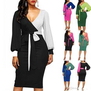 Bureau dames manches longues lâche gaine occasionnelle crayon robes 2019 femmes style d'été col en V Panelle moulante Body Party Club robe FS5537