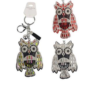 Nuovo progettista micro pavimenta strass Owl Portachiavi bella chiave animale ciondolo catena gioielleria macchina Bag Accessori di moda 7 colori
