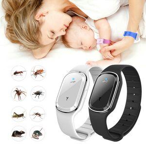 Ultrasonic natural mosquito repelente pulseira impermeável pest inseto insetos anti mosquito pulseira de insetos assistir ultrassom crianças ao ar livre
