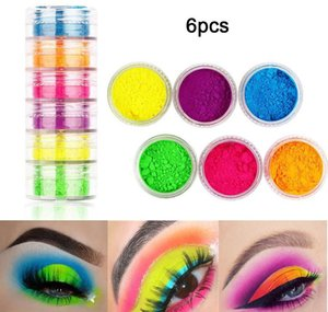 DHL 6pcs / set Augenschminke-Puder-Verfassungs-6colors Neon Eye Shadow Set Schönheit Augen Kosmetik neue heiße Puder Augen Make-up 6pcs Kit DIY
