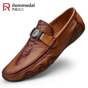 Rommedal crocodile skin loafer shoes men genuine leather slip-on moccasins handmade man casual shoes drive walk luxury leisure Y200106