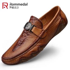 Rommedal крокодил Loafer кожа обувь мужчины натуральная кожа скольжения на мокасин ручной человек повседневная обувь езды ходить роскошный отдых Y200106