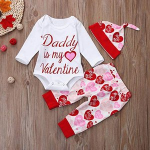 Baby Designer 2021 Girls Valentines Day Clothing Little 3pc Long Sets Red Set Outfits Sleeve Rompers Hats Boutique Toddler Pants Girls Rcbo