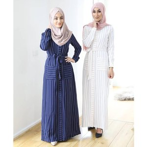 Mode femmes musulmanes Stripe Maxi Dress Dubai Abaya turc Kaftan Boutons longue chemise Robes de soirée Vêtements islamique robe djellaba
