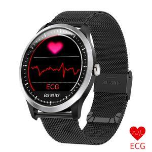 N58 New ECG + PPG relógio inteligente Homens IP67 impermeável Sport Watch Heart Rate Pressão Medida Sangue Smartwatch