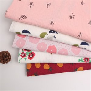 Cotton double-layer crepe plant printing cotton fabric home service scarf baby saliva towel blanket gauze woven fabric