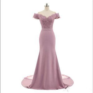 Rosa nueva llegada sirena partido de los vestidos de dama de honor apliques de cuentas cuello en V manga del casquillo del cordón de la vendimia Vestidos Vestido de Festa