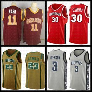 MENS Санта-Клара колледжа Стив Нэш 11 Баскетбол Джерси Red 23 Джеймс 3 Wade 30 Curry Аллен Айверсон 3 NCAA Джерси 2 Леонард 11 Irving