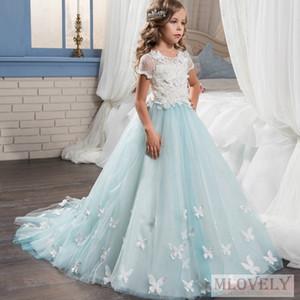 Шикарные Light Blue бальное платье Дети девушки Pageant платье Birthday Party платье событие для девочек в возрасте 6-14 лет