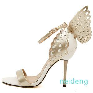 Zapatos calientes de la venta que Sophia Webster alas de la mariposa de las mujeres altos Bowtie sandalias del verano Mujer punta estrecha correa del tobillo Zapatos Bombas