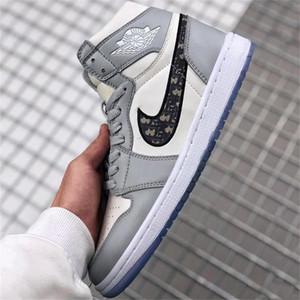 Nova chegada Dior Homme Oblique X Kaws0 AJ 1 High OG por Kim Jones tênis de basquete Casual Shoes