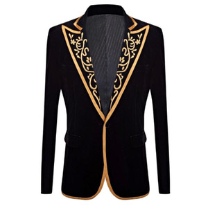 Pyjtrl New Mens Moda Moda Royal Court Prince Black Velvet Gold Ricamo Blazer Blazer Groom Slim Fit Suit Giacca giacca Costume