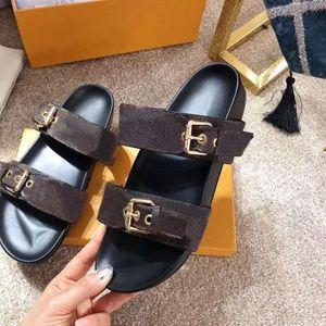 роскошный дизайн женщины мужчины любовник пляжные тапочки летние дамы Bom Dia плоский мул сандалии золото Тон пряжки два ремня слайд обувь размер 35-42-46