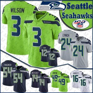 3 Russell Wilson Seattle Football Jersey Seahawk 16 Tyler Lockett 24 Marshawn Lynch 54 Bobby Wagner 14 DK Metcalf 12 Les maillots Fan Stitched
