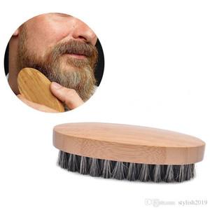 Natürlicher Borst Borst Bartbürste für Männer Bambus Gesichtsmassage, das Wunder arbeitet, um Bärte WCW765 zu kammern
