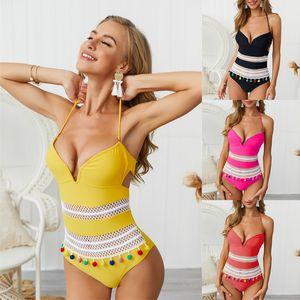 Sexy Womens Halter One Piece Swimisuts V Neck Cutout Monokini Swimwear Bandage Solid Brazilian Bathing suit