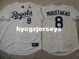 Cheap baseball KR City #8 MOUSTAKAS SEWN shirt Jersey WHITE New Mens stitched jerseys Big And Tall SIZE XS-6XL For sale