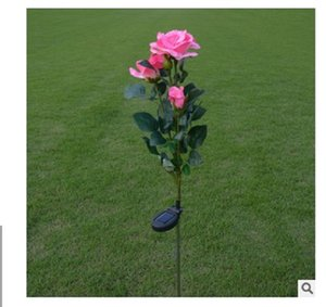 2020 hot sale Garden Decorations lamps Pink 3-head solar rose lamp outdoor LED simulation Lantern Garden decorative lamp artificial lantern