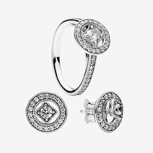 Vintage Circle Ring & Stud Earring sets Women Wedding Jewelry for Pandora 925 Silver CZ diamond Rings and Earrings with Original box