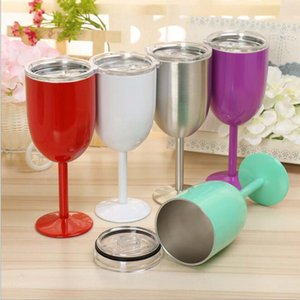 10oz 304 stianless steel wine glasses metal stemless tumbler goblet 9 Color red wine glasses with lids cup Champagne Goblet Drinking Tools