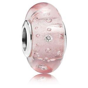 5pcs 925 sterling silver vite rosa effervescenza fizzle perline di vetro di murano fit braccialetti di fascino pandora collane