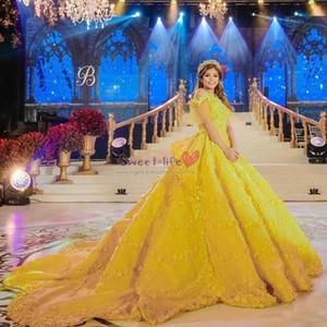 2019 Long Beauty Princess Giallo Ball Gown Quinceanera Abiti 3D Fiore Appliques Backless Prom Abiti da sera Corte dei treni Abiti da sera