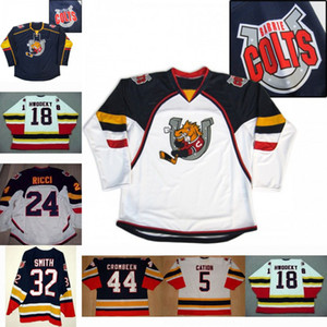 18 chandails Rick Hwodeky Barrie Colts 24 Fab Ricci 5 Cation 32 Smith 44 chandails de hockey Crombeen