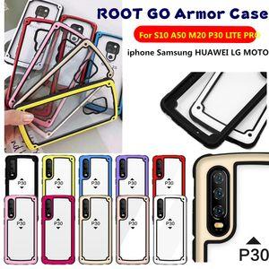 ROOT GO Armor Case para Samsung S10 A50 A70 A60 A2 CORE HUAWEI P30 LITE Y7 2019 LG STYLO 5 K40 MOTO G7 POWER Airbag TPU PC Acrílico contraportada