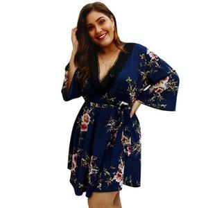 Kadın artı boyutu v boyun 3/4 kollu çiçek baskı dress yüksek bel a line diz boyu plaj dress casual yaz vestidos