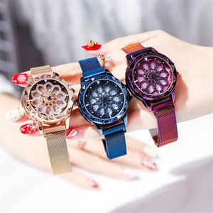 Designer Women Watch Waterproof Flor oco analógico Quartz Rhinestone Magnet Relógio de pulso com malha Strap Brand Watch