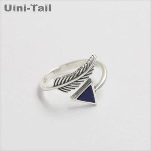 ewelry Accesorios 925 anillo de apertura de plumas de cristal triangular de plata esterlina de la moda retro femenino de Corea del flujo de joyería de alta calidad al po ...