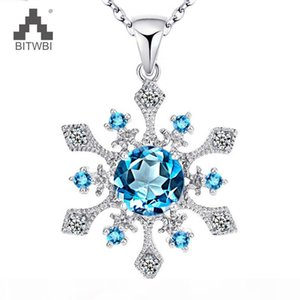 New Arrival 100% 925 Sterling Silver Snowflake Shape Topaz Pendant&Necklace fashion Cross Necklace for Christmas