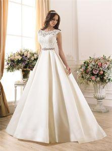 2020 Nova Sheer casamento do laço Vestidos A-Line Satin Beads Sash Baixa Zip Voltar Marfim Primavera tampado vestidos de noiva bola vestido estilo de casamento