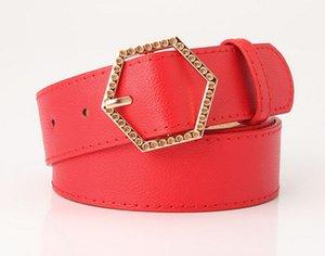 2020 New Trend Hexagon Alloy Buckle Women's Belt Fashion Korean Wild Girl Clothing Decorative Belt