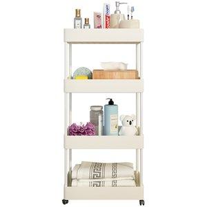 Bathroom shelf bathroom trolley trolley storage storage shelf mobile floor pulley multi-layer kitchen