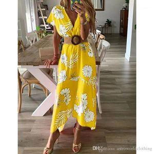 V-Ausschnitt Blumenkleid Sommer-Strand-beiläufig Maxi Holiday Beach Kleider Frauen 19SS Tief