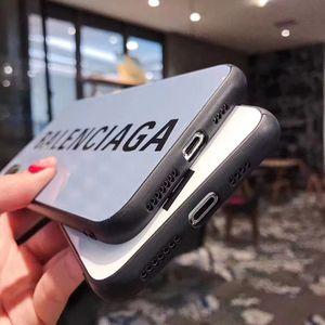 Caso Designer de telefone de luxo de vidro Moda Brilhante B Letter para iPhone 11 Pro Max X XS MAX XR 6S 6 7 8 Plus Shell Celular tampa traseira A09