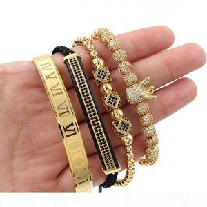 4Pcs Set Roman Number Stainless Steel Bracelet Women Men Couple Bangle Gold Crown Bracelet Luxury Jewelry