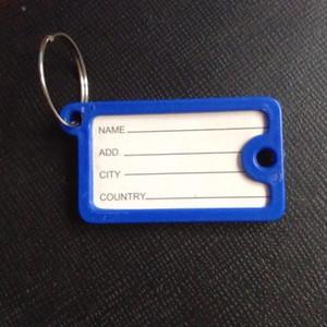 100pcs / lot Nouvelle arrivée rectangulaire Key Card plastique cristal clé ID étiquette Balises carte de Split Keychain Porte-clefs Anneau
