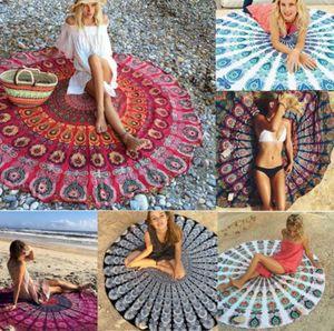 chiffon Boho Beach shawl Indian Mandala Beach Round Tapestry Decor Yoga Boho Picnic Mat sunscreen shawl beach Bikini Cover LJJK2142