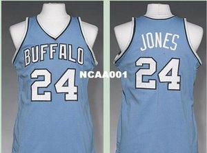 Vintage Männer Buffalo # 24 Wil Jones 1977-78 Straße RETRO Startseite Metallgewebe Voll Stickerei Größe S-4XL oder benutzerdefinierte beliebigen Namen oder Nummer College-Trikot