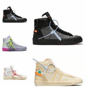 Nike Blazer Mid Off White L'alta qualità H02 trasporto libero bianche scarpe nere uomini e le donne che gestiscono lo sport impatto Corss trekking jogging scarpe da trekking 5-11