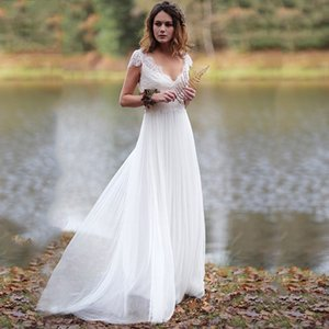 2020 Bohemian Lace Wedding Dresses V-Neck Cap Sleeves Lace-Up Back Summer Beach Bridal Gowns Cheap Vestido De Noiva Simple