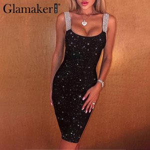 Glamaker Festa sequin black summer short dress women Sleeveless lurex sexy club mini bodycon dress Elegant party night dress