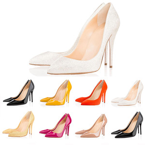 Christian louboutin  CL Ucuz Ofis Caree ACE lüks tasarımcı kadın Elbise ayakkabı kırmızı dipleri yüksek topuklu 8 cm 10 cm 12 cm Çıplak siyah beyaz Deri bayan Toes Pompalar