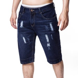 HCXY brand mens denim shorts new summer straight five-point shorts for men European and American loose ripped jeans male