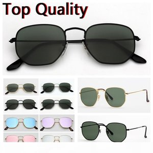 mens sunglasses hexagonal flat glass lenses design men women male female sunglasses with brown or black case, cloth, paper box, accessories