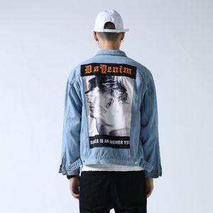 Главная вскармливание Рисунок Jeans пальто Мужчины Западный стиль Вышитые Impression Big Picture аппликация Hip Hop куртка мужская